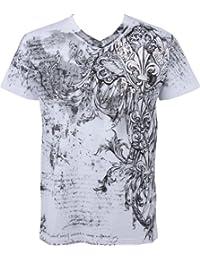 Sakkas Vines and Fleur De Lis Metallic Silver Embossed V-Neck Mens T-Shirt