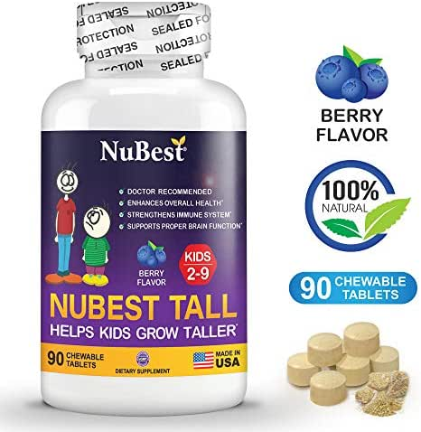 NuBest Tall Kids - Helps Kids Grow Taller from 2 to 9 Years Old with Multivitamins and Multi-Minerals - Berry Flavor - Doctor Recommended - 90 Chewable Tablets