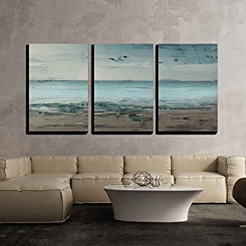 Amazon.Com: Qicai 3 Panel Canvas Wall Art For Home Decor Blue Sea