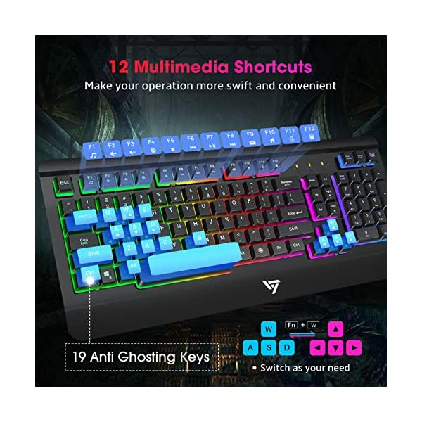 VicTsing Gaming Keyboard with All-Metal Panel, USB Wired Keyboard with Ergonomic Wrist Rest, Ultra-Slim Computer…
