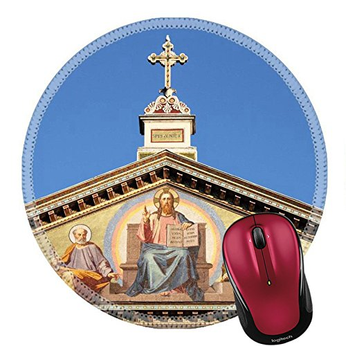 Liili Round Mouse Pad Natural Rubber Mousepad Basilica of Saint Paul outside the walls in Rome Italy Photo 12816641 - Basilica Outdoor Wall