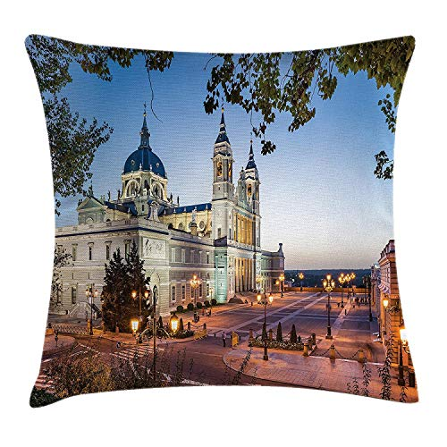 WCMBY European Throw Pillow Cushion Cover, Old Cathedral and Royal Palace in Madrid Mediterrenean City Europe Urban Print, Decorative Square Accent Pillow Case, 18 X 18 Inches, - Madrid Cover Futon