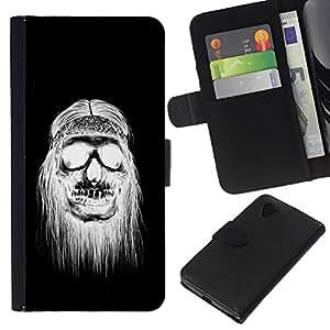 Be-Star la tarjeta de Crédito Slots PU Funda de cuero Monedero caso cubierta de piel LG Nexus 5 D820 D821 ( Black White Hippie Skull Death )