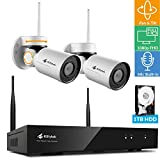 [Pan Tilt Audio 8CH] Kittyhok 1080p Wireless PTZ Security Camera System Entry Kit, 8CH H.265 Hub 1TB Storage, 2x WiFi PT Cameras w. Built-in Microphones, 24×7 IP65 Camera, Easy Mobile View & Control