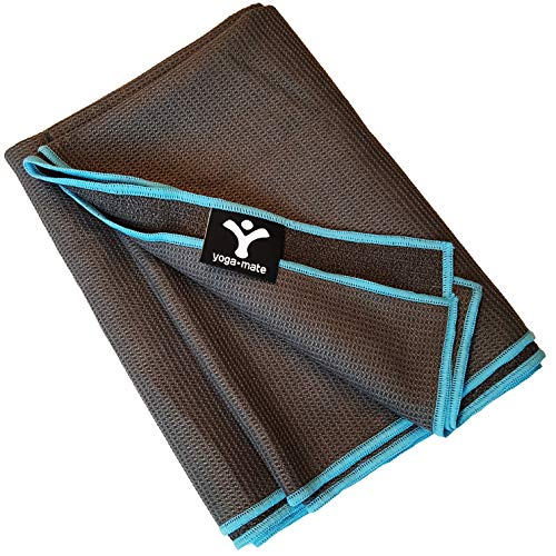 Yoga Mate Sticky Grip, Non Slip Hot Yoga Towel - Anti-Slipping, Sweat Absorbent Microfiber Towels with Silicone Grip Bottom - Perfectly Fits Standard & XL Sized Mats (Gray | Blue Trim)