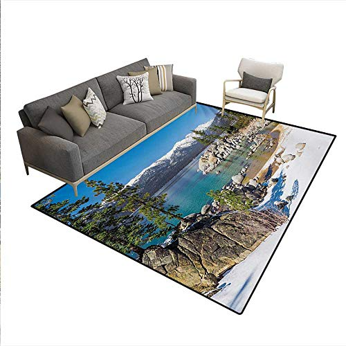 - Carpet,Circle Lake Harbor Surrounded Snowy Mountain Countryside Relax Treatment Photo,Print Area Rug,Green Blue,6'x8'