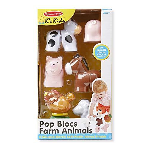 51USwYyp7ZL - Melissa & Doug Pop Blocs Farm Animals Educational Baby Toy - 10 Linkable Pieces