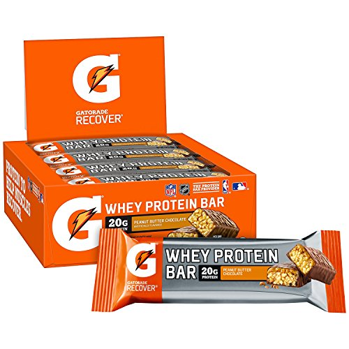 Gatorade Whey Protein Recover Bars, Peanut Butter Chocolate, 2.8 ounce bars (12 Count) Bar Peanut Butter Caramel