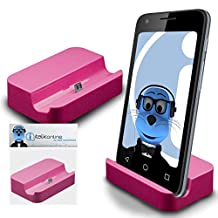Pink Micro USB Sync & Charge / Charging Desktop Dock Stand Charger For Samsung Galaxy Core SM-G386F LTE
