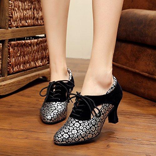 Synthetic Lace Minitoo Latin Dance QJ7046 Silver up Ladies Salsa Tango Pumps FAWWaqH