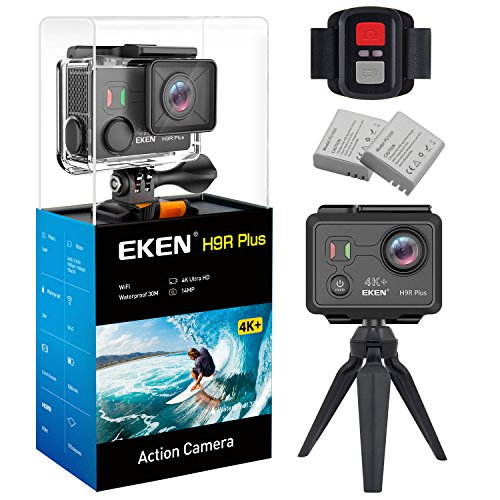 EKEN H9R Plus Ultra HD Action Camera 4K 14MP 100ft Underwater Waterproof Cam Remote Sports Camcorder Panasonic Sensor 170° Angle Lens with 2 Batteries Accessories Kit and Tripod EKEN
