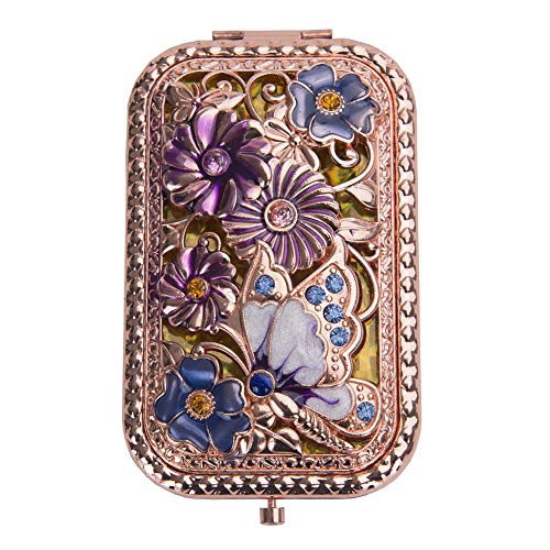 fying Vintage Foldable Metal Princess Style Butterfly Flower Russian Style Vanity Mirror Cosmetic Purse Mirror Portable Travel Mirror Rose Gold ()