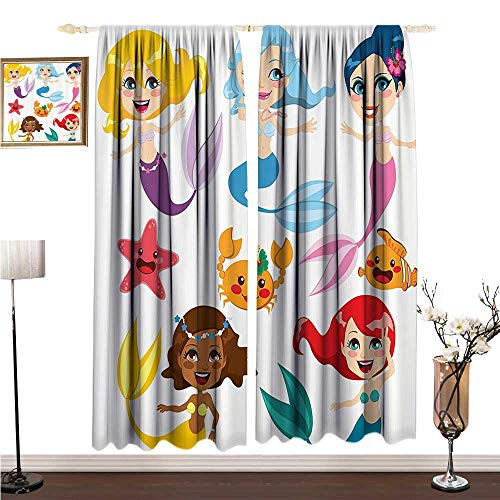 Light Luxury high-end Curtains Mermaid Decor Collection of Cute Colorful Mermaids and Sea Friends Kids Cheering Joyful W96 xL72 Printing Insulation