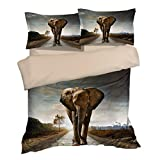Special Wild Elephant Cotton Microfiber 3pc 80''x90'' Bedding Quilt Duvet Cover Sets 2 Pillow Cases Full Size