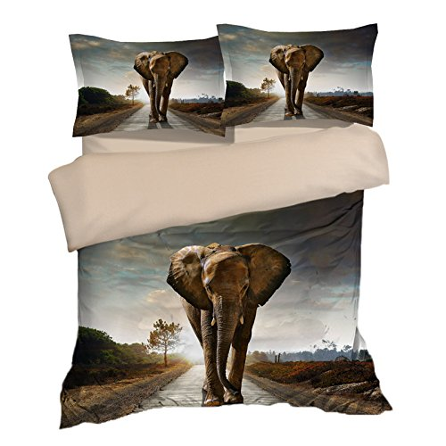 Special Wild Elephant Cotton Microfiber 3pc 80''x90'' Bedding Quilt Duvet Cover Sets 2 Pillow Cases Full Size by DIY Duvetcover