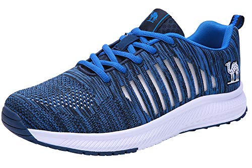 (CAMEL CROWN Trail Running Shoes Men Super Lightweight Comfortable Tennis Shoes Fashion Mesh Breathable Casual Road Running Shoes for Men Royal Blue)