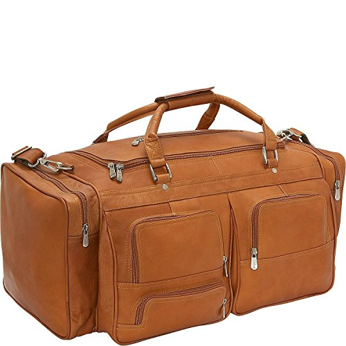 Piel Leather 24In Duffel with Pockets, Saddle, One Size by Piel Leather