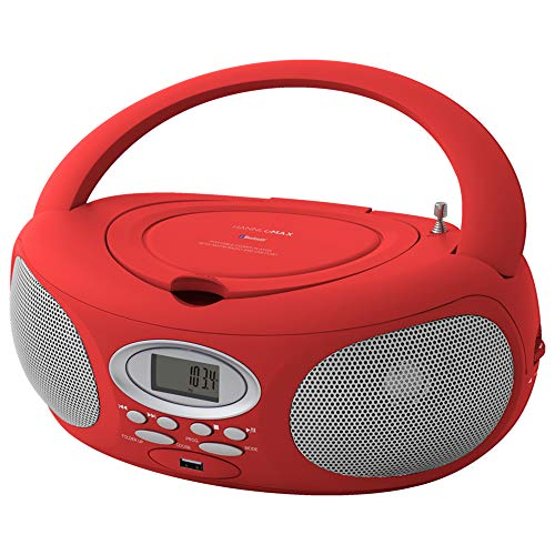 HANNLOMAX HX-321CD2 Portable CD/MP3 Boombox, AM/FM Radio, Bluetooth, USB Port for MP3 Playback, Aux-in (Red)
