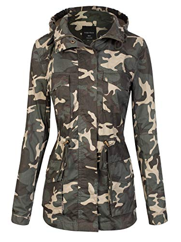 Instar Mode Women's Camouflage Hooded Military Safari Utility Fashion Jacket Olive Camo L