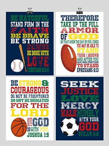 fan products of Set of 4 Christian Sports Wall Art Print - Baseball, Football, Soccer, Basketball - Ephesians 6:13, 1 Corinthians 16:13-14, Joshua 1:9, Micah 6:8 - Bible Verse Nursery Playroom or Kids Room Decor