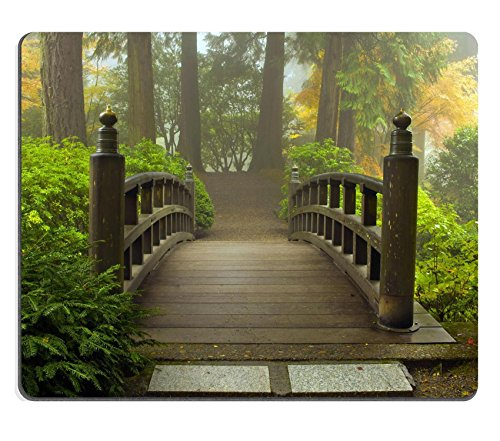 Price comparison product image Liili Mouse Pad Natural Rubber Mousepad Wooden Bridge at Portland Japanese Garden in Fall One Foggy Morning Photo 8152726