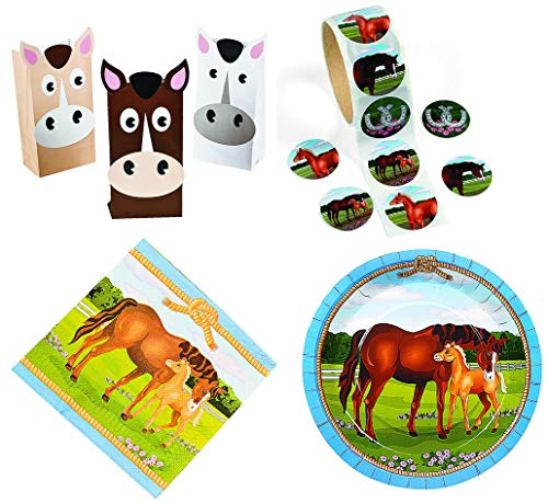 (Fun Express Horse Party Bundle | Treat Bags, Sticker Rolls, Napkins, Plates | Great for Barnyard Themed Event, Rodeo, Lumberjack, Farm, Western, Birthday Party)