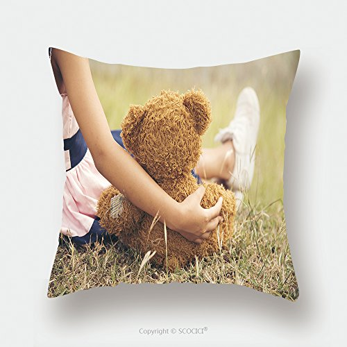 Custom Satin Pillowcase Protector Little Cute Girl Hugging A Fluffy Teddy Bear Child Holding Toy As Her Best Friend To Go To Picnic 525244195 Pillow Case Covers Decorative by chaoran