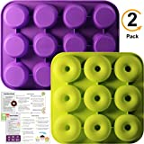 Professional 2-Pack Donut Pan Set | Makes 12 Full Size Donuts, BPA Free, Super Non-Stick | Pack Comes With 1 Spatula and 1 Pastry bag (Purple/Green)