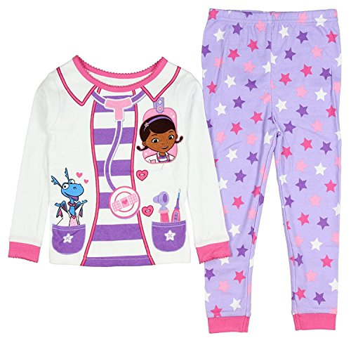 AME Sleepwear Disney Doc McStuffins Little Girls Toddler Long Sleeve Cotton Pajama Set,White,2T