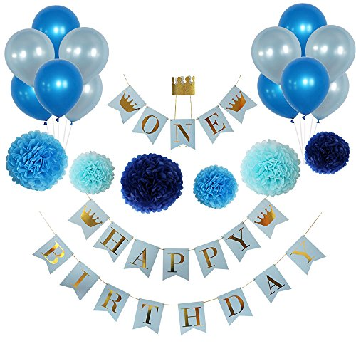Birthday Decorations for Boys, 1st Birthday Boy, Blue and Gold Birthday Decorations,high chair banner first birthday ,Gold Crown, King, Prince, Party Supplies, Balloons, Gold Foil, Pom Poms, Tissue