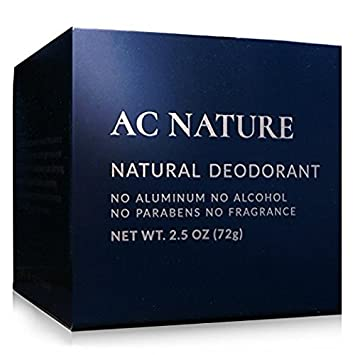 AC NATURE All Natural Deodorant Aluminum-Free Organic Ingredients All Day Protection, Paraben Free, No Fragrances, Extra Strength for Women, Men and Kids, Unscented, 2.5 oz, Pack of 2