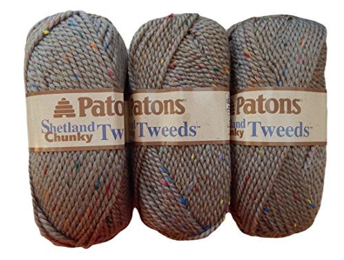 Patons Shetland Chunky Tweed Yarn Bundle ( 3 Pack) Bulky Acrylic Wool Blend ( Toasty Tweed)