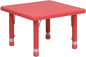 Flash Furniture 24'' Square Red Plastic Height Adjustable Activity Table