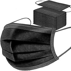 Lot de 50 masques jetables noirs pour le visage – Respirant – Élastiques pour les oreilles