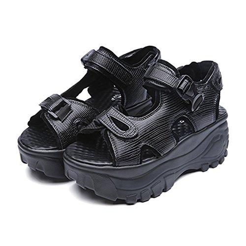 シャックル革命ミュート厚底サンダル レディース 歩きやすい 厚底靴 スポーツサンダル マジックテープ ベロクロ カジュアル おしゃれ 夏 通気 軽量 日常 美脚 身長up 約6.5cmヒール シルバー ブラック
