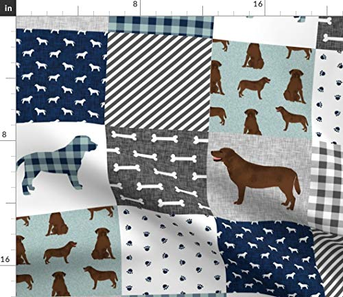 Labrador Fabric - Retriever Chocolate Lab B Cheater Quilt Dog Fabric Dogs Baby Blanket Pet Print on Fabric by the Yard - Linen Cotton Canvas for Sewing Home Decor Table Linens Apparel Bags