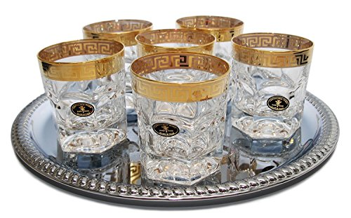 Italian Collection Versace-inspired Crystal DOF Whisky Glasses, 24K Gold-Plated, Italian - Versace Inspired By