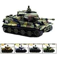 Cheerwing 1:72 German Tiger I Panzer Tank Remote Control Mini RC tank with Sound, Rotating Turret and Recoil Action When Cannon Artillery Shoots (Vary Colors)