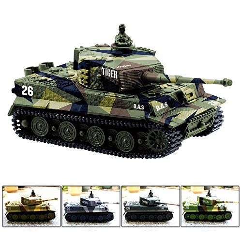 Cheerwing 1:72 German Tiger I Panzer Tank Remote Control Mini RC tank with Sound, Rotating Turret and Recoil Action When Cannon Artillery Shoots (Vary Colors) (Remote Control Army Tank)