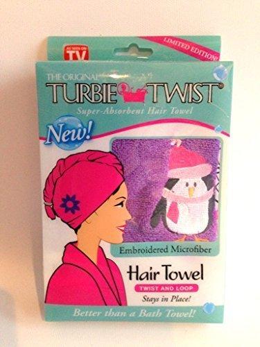 Turbie Twist As Seen on TV Microfiber Super Absorbent Hair Towel Purple Emroidered Penguins by Turbie