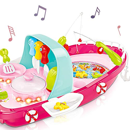 Gamie Kiddie Boat Play Toy for Kids with Light & Sound | 2-in-1 Activity Toy with Fishing Game and Kitchen Play Set for Fun Pretend Play | Unique Birthday Idea for Boys & Girls