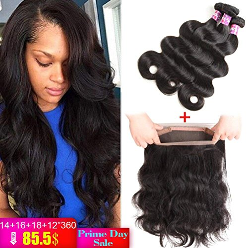 Brazilian Body Wave with 360 Frontal 8A Brazilian Virgin Hair Body Wave 360 Lace Frontal with Bundles Body Wave Human Hair with Closure (14 16 18+12 360frontal, Natural Color)