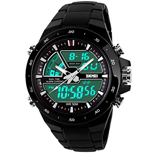 Manner 50M Waterproof Analogue Digital LCD Multifunctional Mens Sports Watch Black Diva Charm Watch