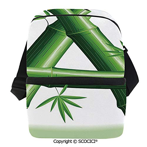 SCOCICI Cooler Bag Green Bamboo Style Font First Letter of The Alphabet Nature Inspired Illustration Insulated Lunch Bag for Men Women for Kayak,Beach,Travel,Work,Picnic,Grocery