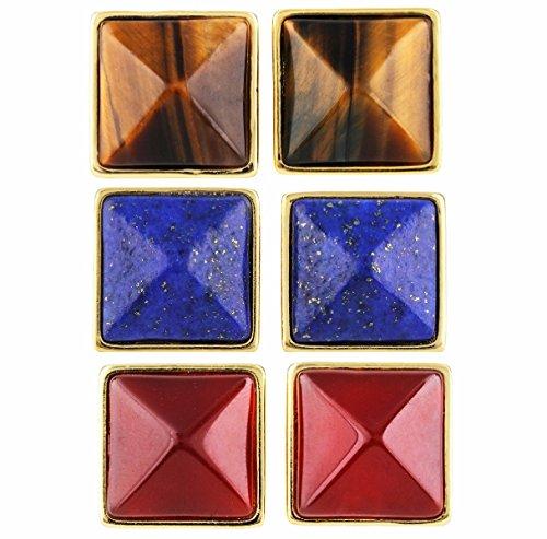 SUNYIK Tiger's Eye Stone/Lapis Lazuli/Carnelian 4 Faceted Crystal Point Stud Earrings,Pack of 3