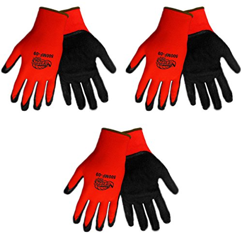Tsunami Grip 500MF Nitrile Coated Work Gloves Size XXL, Red/Black, (3 Pair Pack) (XX-Large) (Tsunami Grip)