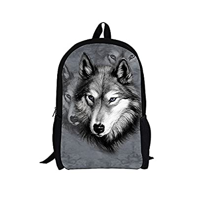 68a3ca1f25 Dellukee Large Cool School Bag Cute Kids Durable Personalized Backpack  Bookbags Wolf Print on sale
