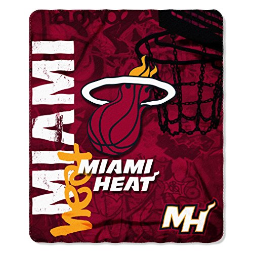 The Northwest Company NBA Miami Heat Hard Knocks Printed Fleece Throw, 50-inch by 60-inch, Blue -