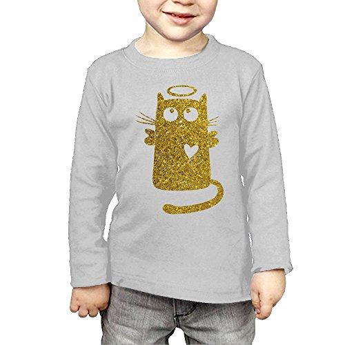 (Long Sleeve Crew Neck T-Shirts Funny Golden Glitter Angel Cat for Girls)
