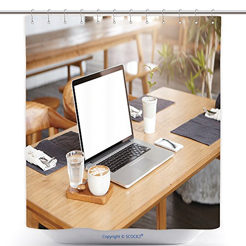 Durable Shower Curtains Workplace Of Unknown Freelancer When Nobody S Around Minimalist Shot Of Cup Of Coffee Glass Of 556302496 Polyester Bathroom Shower Curtain Set With Hooks